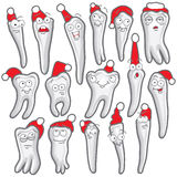 Teeth with eyes vector. A set of teeth with the eyes of a winter hat on a white background stock illustration