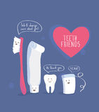 Teeth friends, healthy lifestyle vector Royalty Free Stock Photos
