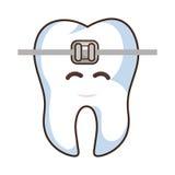 teeth funny character with braket kawaii style royalty free illustration