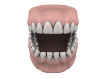 Teeth and gums open. In white. Easy to isolate stock illustration