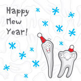 Teeth. Happy New Year greeting card Stock Image