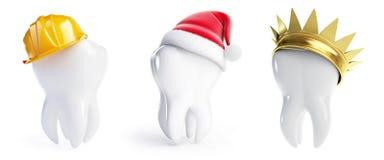 Teeth hats crown, Santa hat, helmet worker Royalty Free Stock Images