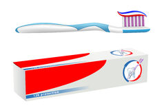 Teeth hygiene. Vector toothbrush and toothpaste on white background, gradient mesh used Stock Images