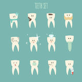 Teeth icon set, (concept of healthy)  illustration Stock Images