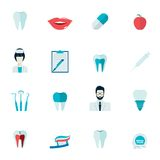 Teeth Icons Flat. Dental health and caries teeth healthcare instruments dent protection flat icons set isolated vector illustration Royalty Free Stock Image