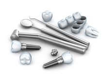 Teeth, implants, and dental instruments. Over white Royalty Free Stock Photos