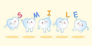 Teeth with invisible braces. Cute cartoon teeth wear invisible braces and take smile word Royalty Free Stock Photos