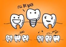 Teeth juicy orange cartoons Royalty Free Stock Photo