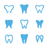 Teeth logo white. Set of blue teeth, tooth icons isolated on white background. Can be used as logo for dental, dentist or stomatology clinic, teeth care and Stock Photo