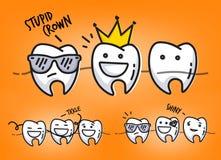 Teeth orange cartoons Royalty Free Stock Images