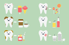 Teeth problem. Dental cartoon vector, set of teeth problem Royalty Free Stock Photo