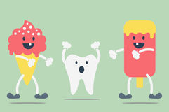 Teeth problem from ice cream Royalty Free Stock Image