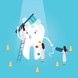 Teeth protection character funny brushing it self medical treatment tooth paste protection clean hygiene Royalty Free Stock Photography