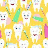 Teeth seamless. On the yellow background Royalty Free Stock Photography