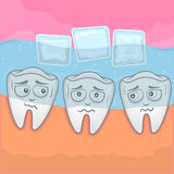 Teeth Sensitive With Cold. Vector illustration teeth sensitive with cold water & ice cube Stock Images