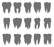 Teeth silhouette icons. Silhouette of the teeth, tooth icon, dental icons, teeth signs, teeth design, teeth flat, tooth vector, tooth illustration, tooth symbol Royalty Free Stock Images