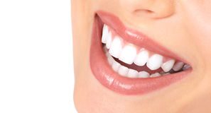 Teeth and smile. Healthy woman teeth and smile. Close up Stock Images