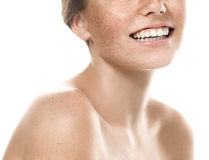 Teeth smile mouth Young beautiful freckles woman face portrait with healthy skin Royalty Free Stock Photography