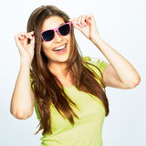 Teeth smiling woman with pink sunglasses Royalty Free Stock Photos