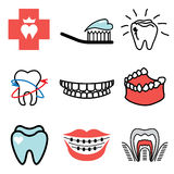 Teeth and stomatology icons Stock Photo