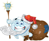 Teeth in suit Santa Claus with sack of presents stock photo