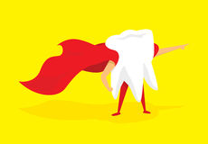 Teeth super hero standing with cape Royalty Free Stock Images