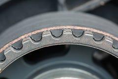 Timing belt and camshaft sprocket in car engine. Stock Photo