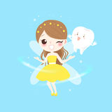 Teeth with tooth fairy. Cute cartoon teeth with tooth fairy play happily royalty free illustration