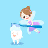Teeth with tooth fairy. Cute cartoon teeth sleep with tooth fairy royalty free illustration