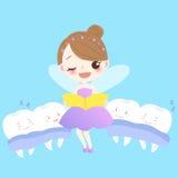 Teeth with tooth fairy. Cute cartoon teeth sleep with tooth fairy vector illustration