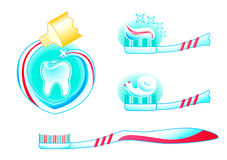 Teeth, tooth paste and brush Stock Images