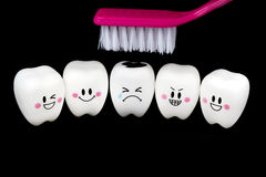 Teeth toy smile and cry emotion royalty free stock images