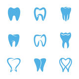 Teeth white. Tooth icons for stomatology, dentist and dental care clinics. Set of abstract icons, signs and symbols with tooth for dental clinic logo concept in Stock Image