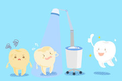 Teeth with whitening concept. Cute cartoon tooth with whiten concept on the blue background Royalty Free Stock Photos