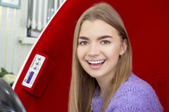 Teeth whitening girl smiling with whitened white teeth stock images