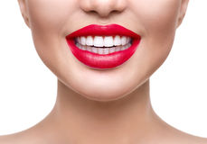 Teeth whitening. Healthy white smile closeup Stock Image