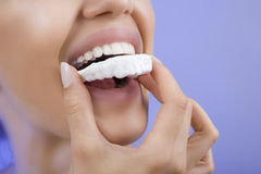 Teeth Whitening - Smiling girl with Tooth Tray, Close-up Stock Images
