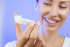 Teeth Whitening - Smiling girl with Tooth Tray, Close-up Stock Photos