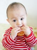 Teething baby bite. Asian teething baby biting and playing his toy Royalty Free Stock Image