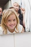 Teeths di spazzolatura della famiglia Fotografie Stock Libere da Diritti