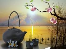 Teetopf mit nettem Hintergrund stockbild