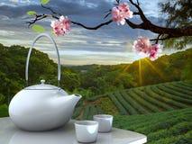 Teetopf mit nettem Hintergrund stockfotografie