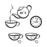 Teevorbereitungs-Vektorikone für Teeverpackung Lizenzfreie Stockfotografie
