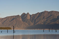 Teewwaterskloof dam. Sunrise at Teewaterskloof between the overberg mountains in the Cape Royalty Free Stock Photography