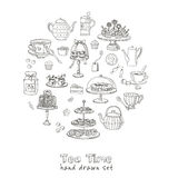 Teezeit-Gekritzelsatz skizze Stockbild