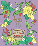 Teezeit, hell Bunte Vektorillustration, violetter Hintergrund Stockbild