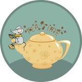 Teezeit mit Maus - Illustration Lizenzfreie Stockbilder