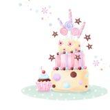 Teezeit-Schablonendesign Illustration gemacht vom Geburtstagskuchen, von den Bonbons und vom kleinen Kuchen lizenzfreie abbildung