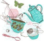 Teezeitillustration mit Blumen Stockfoto