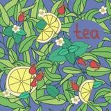 Teezeitmuster, blauer nahtloser Hintergrund Coloful-Vektor illus Lizenzfreie Stockbilder